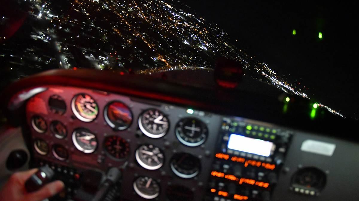 Night flying requires different skills from daytime flight operations, in Frederick, Maryland. Photo by David Tulis.