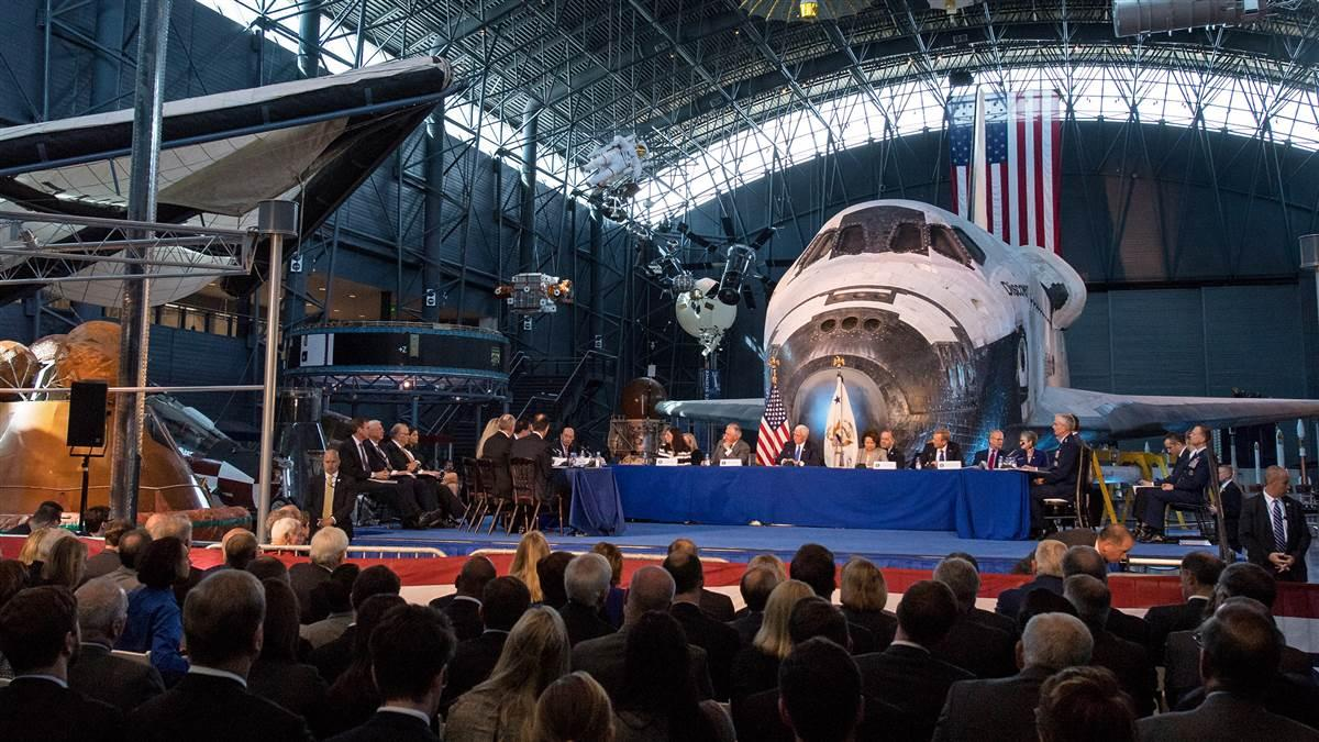 Members of the revitalized National Space Council are seen during an Oct. 5 meeting at the Smithsonian National Air and Space Museum's Steven F. Udvar-Hazy Center in Chantilly, Va. The council, chaired by Vice President Mike Pence, heard testimony from representatives from civil space, commercial space, and national security space industry representatives. Photo courtesy of Joel Kowsky, NASA.