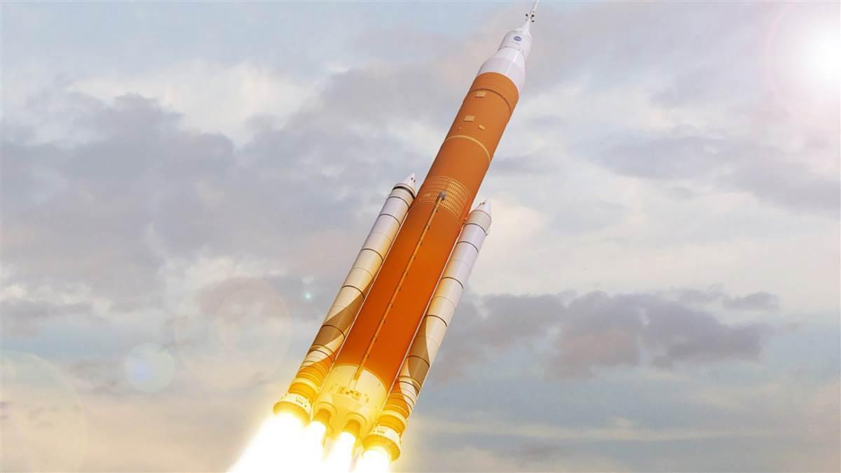 The SLS is an advanced, heavy-lift rocket that, along with the Orion spacecraft, will provide new capability for science and human exploration beyond Earth's orbit. Artist's conception courtesy of NASA.