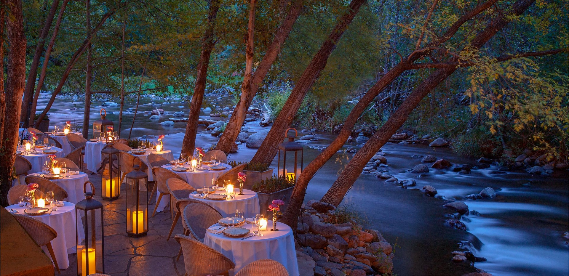 Romantic, cozy, and impeccable are words that only begin to describe Cress on Oak Creek, Sedona's premiere dining destination and part of L'Auberge de Sedona. For dinner, select from a three- or four-course menu. The resort's Etch Kitchen/Bar also serves dinner, along with breakfast and lunch. Photo courtesy L'Auberge de Sedona.