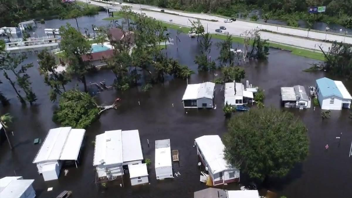 Attached to a camera crew from The Weather Channel, SkyFire Consulting captured drone footage during Hurricane Irma's strike on Fort Myers, Florida, and followed up with a survey of local flooding and damage. Photo courtesy of SkyFire Consulting.