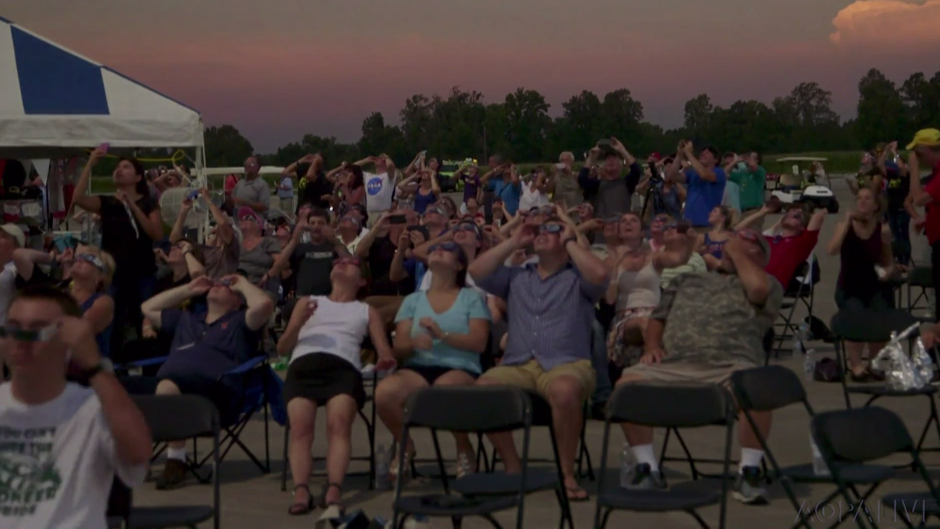 Sun gazers gather at Southern Illinois Airport in Carbondale to view the total solar eclipse Aug. 21, 2017.