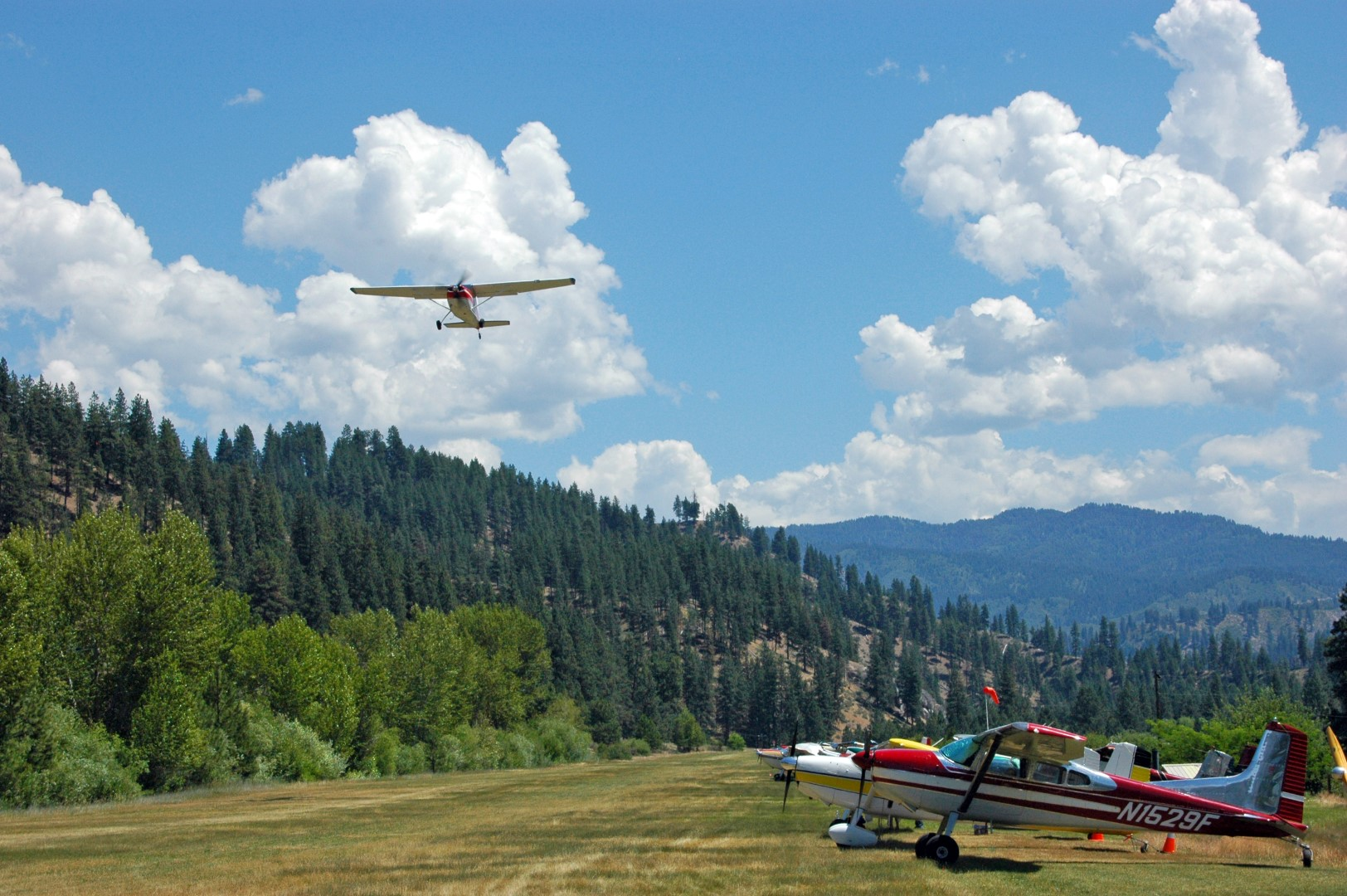 A Cessna Skywagon departs the Garden Valley, Idaho, airstrip during the International 180/185 Club's fly-in, held there each July. Photo by Crista Worthy.