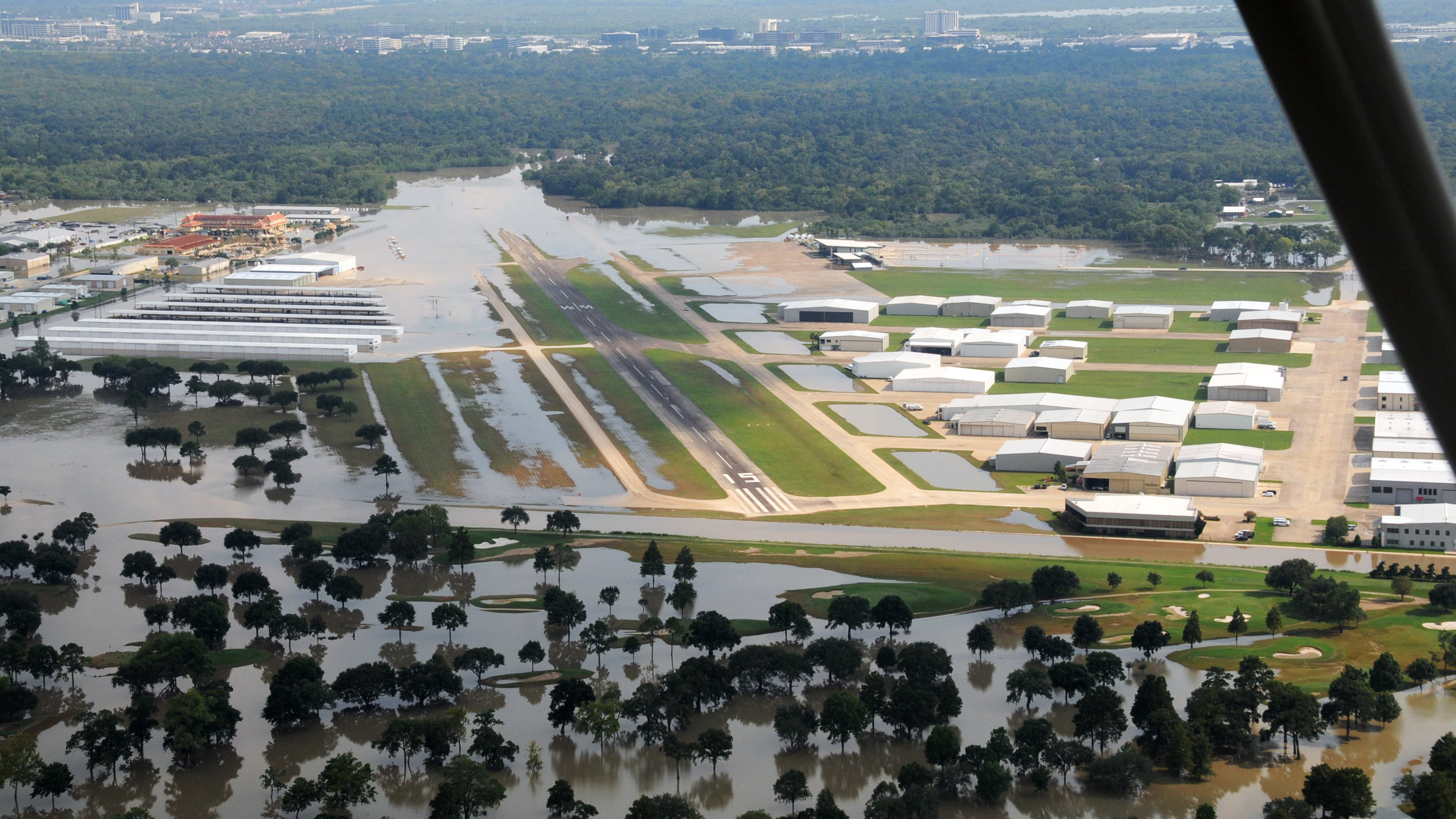 West Houston Airport after Hurricane Harvey. Photo courtesy of Jeffrey Weiss.