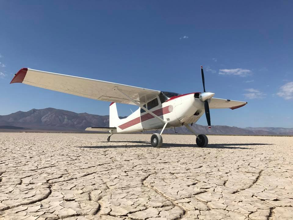 Each year a few heavy rains leave standing water on the playa. When the water evaporates it leaves a level surface suitable for nearly all aircraft. Photo courtesy Facebook/High Sierra Fly-In.