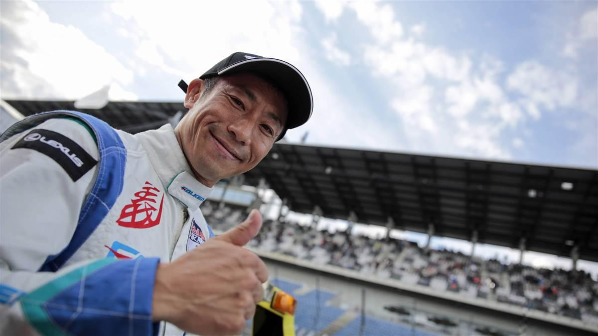 Yoshihide Muroya of Japan smiles after winning the seventh round of the Red Bull Air Race World Championship at Lausitzring, Germany. Photo by Joerg Mitter/Red Bull Content Pool.