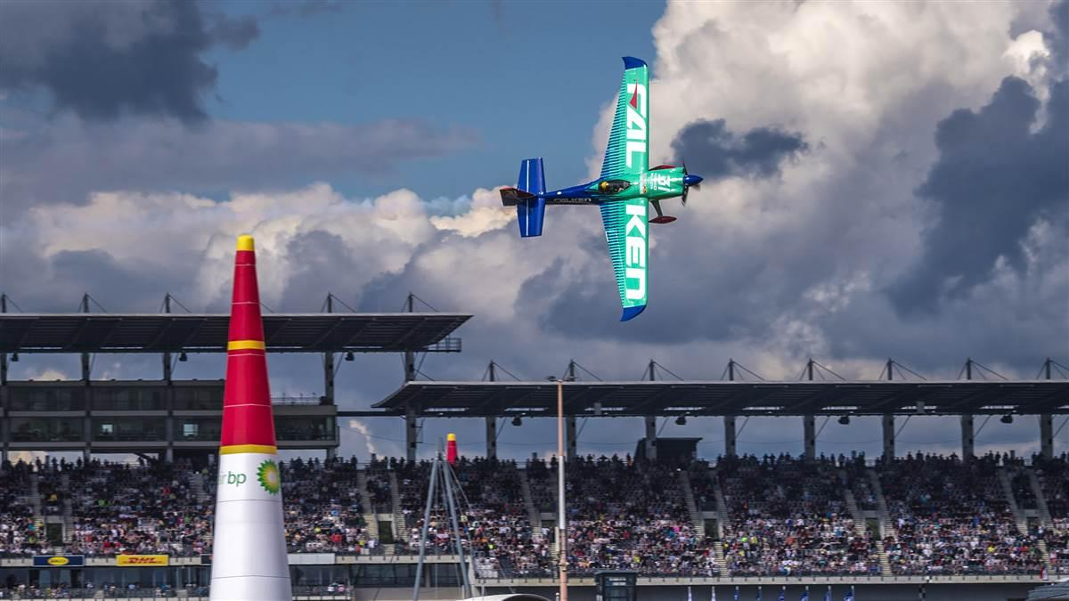 Yoshihide Muroya of Japan posted race day times nobody could match during the Red Bull Air Race World Championship event at Lausitzring, Germany, on Sept. 17. Photo by Joerg Mitter/Red Bull Content Pool.