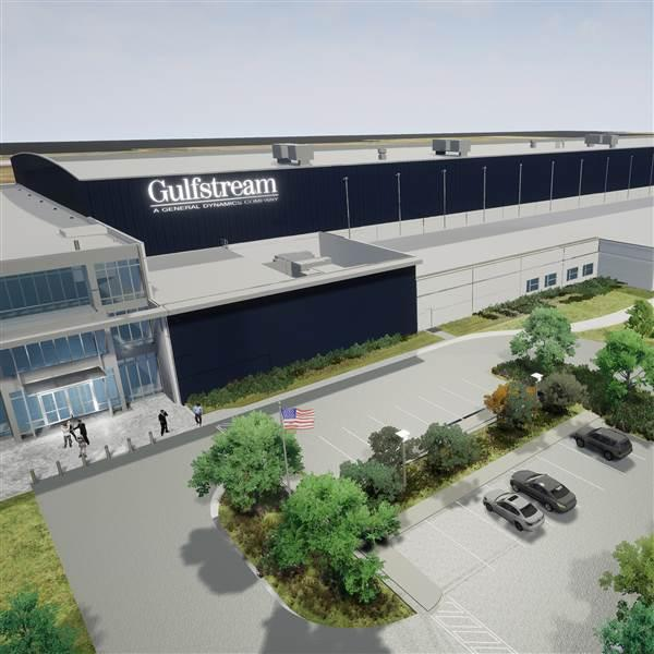 Gulfstream Aerospace announced plans for a new $55 million service center that will bring 200 additional jobs to the Savannah, Georgia, area by 2019. Photo courtesy of Gulfstream Aerospace.