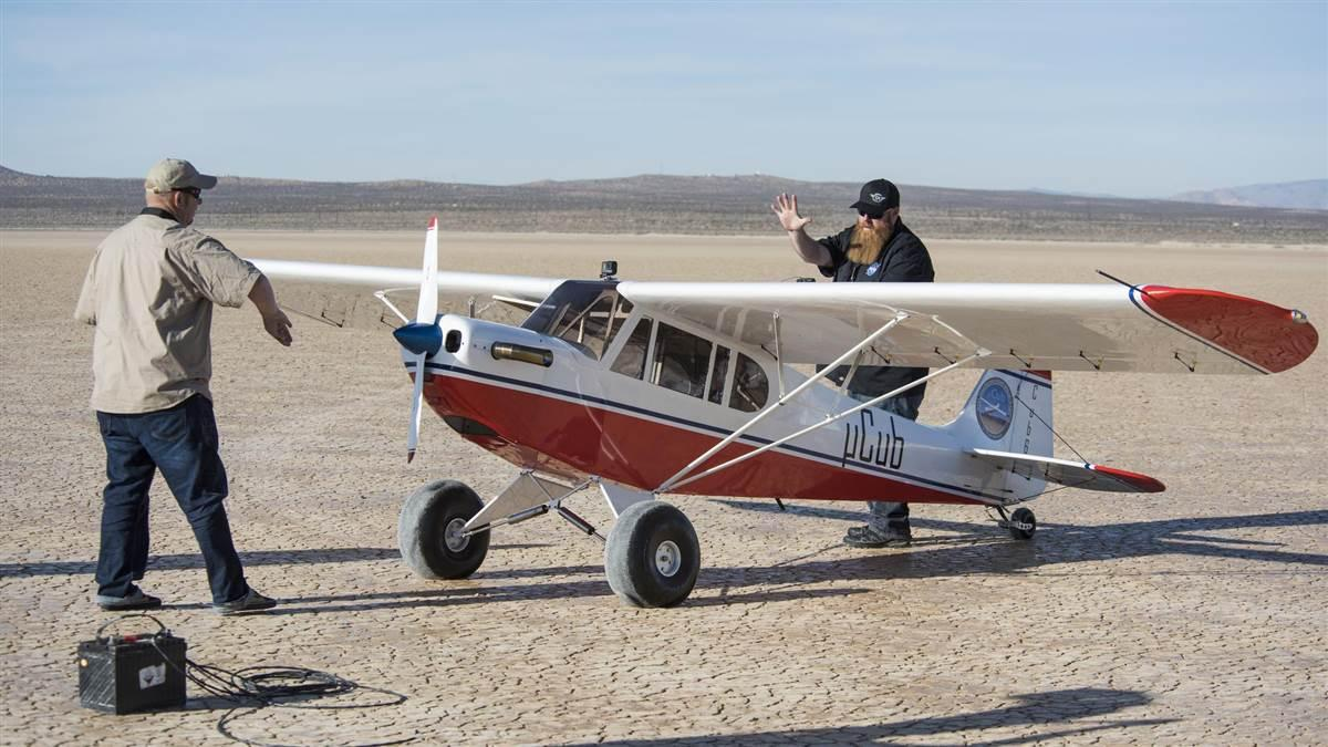 NASA fitted this scaled-down Super Cub with a turboprop powerplant to allow it to more closely replicate manned aircraft in drone integration tests to come. NASA photo.
