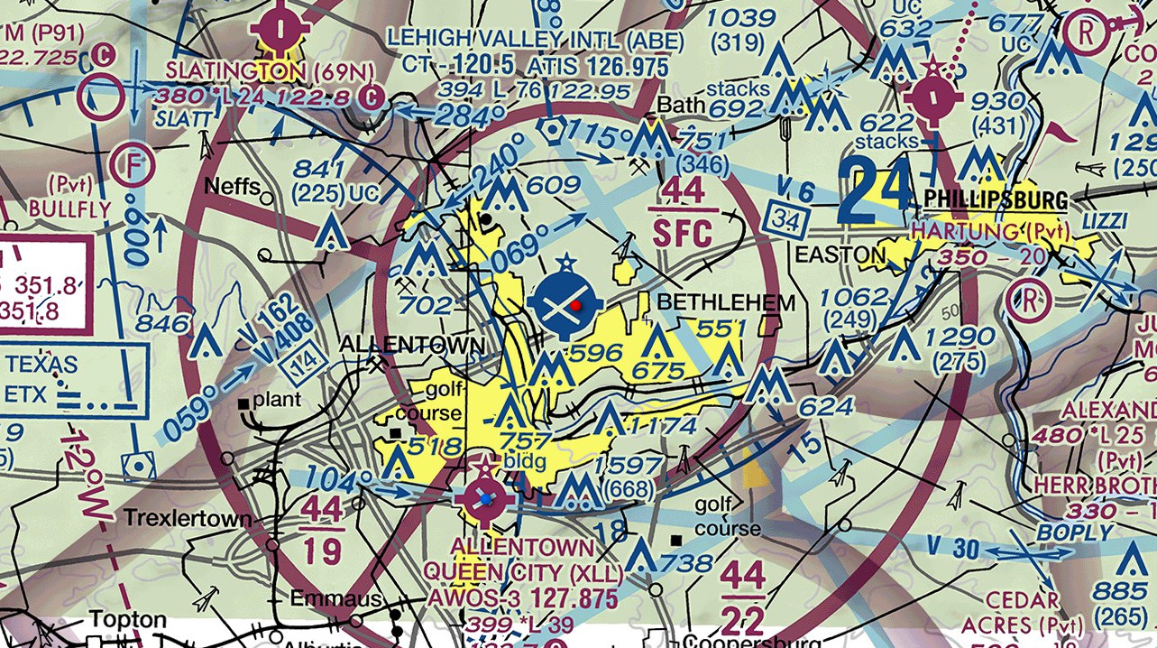Coca-Cola Park (not charted) is well inside the inner ring of the  Class C airspace around Lehigh Valley International Airport.