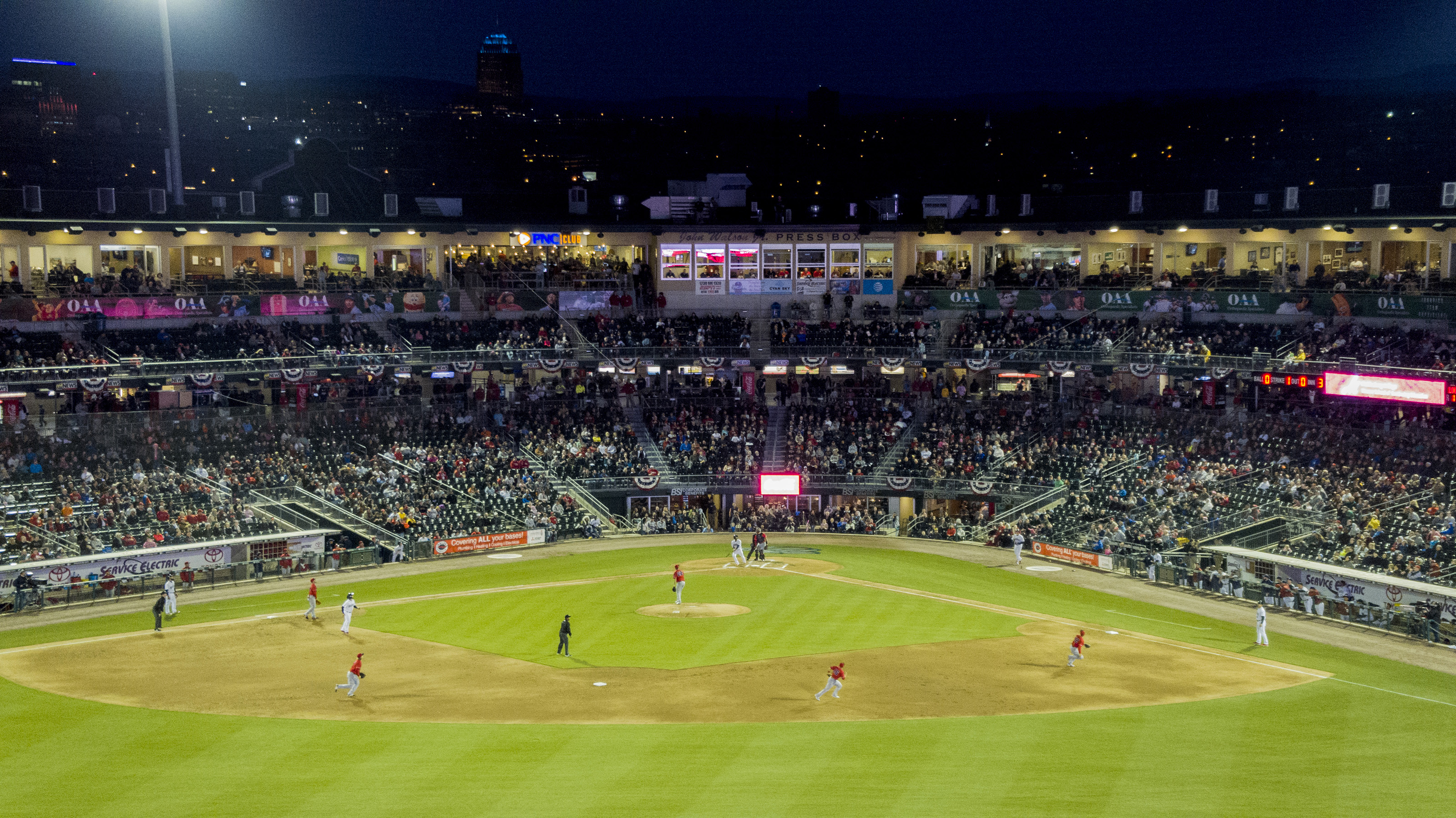 A drone perspective of the action during the Lehigh Valley IronPigs home opener April 12. Photo courtesy of Lehigh Valley Drone.