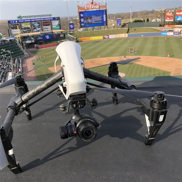 This DJI Inspire, seen here during batting practice before the April 12 home opener at Coca-Cola Park, is ready to capture game action. Photo courtesy of Lehigh Valley Drone.