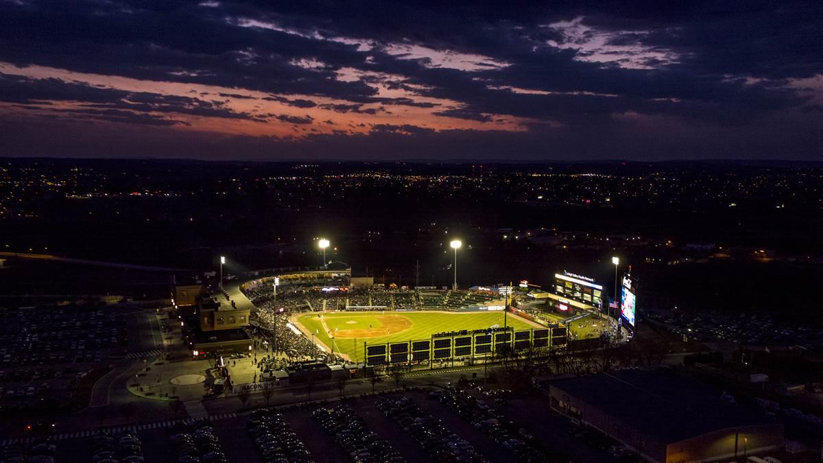 Coca-Cola Park hosted the home opener of the Lehigh Valley IronPigs on April 12, and the game broadcast was augmented, for the first time, by views from a drone. Photo courtesy of Lehigh Valley Drone.
