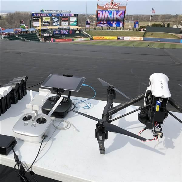 Lehigh Valley Drone's baseball coverage rig is a DJI Inspire 1 Pro fitted with a uAvionix Ping 2020i for Automatic Dependent Surveillance-Broadcast Out, and two white strobes for enhanced visibility. The drone is flown from the roof of Coca-Cola Park. Photo courtesy of Lehigh Valley Drone.