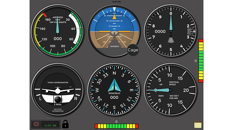 Example of the WingBug app display. Image courtesy of Straight & Level Technologies.