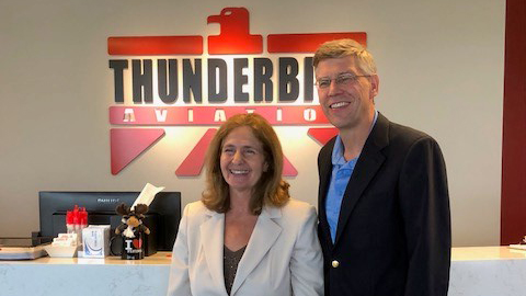Rep. Erik Paulsen (R-Minn.) and Thunderbird Aviation Inc. President Nancy Grazzini Olson at Flying Cloud Airport in Minnesota.