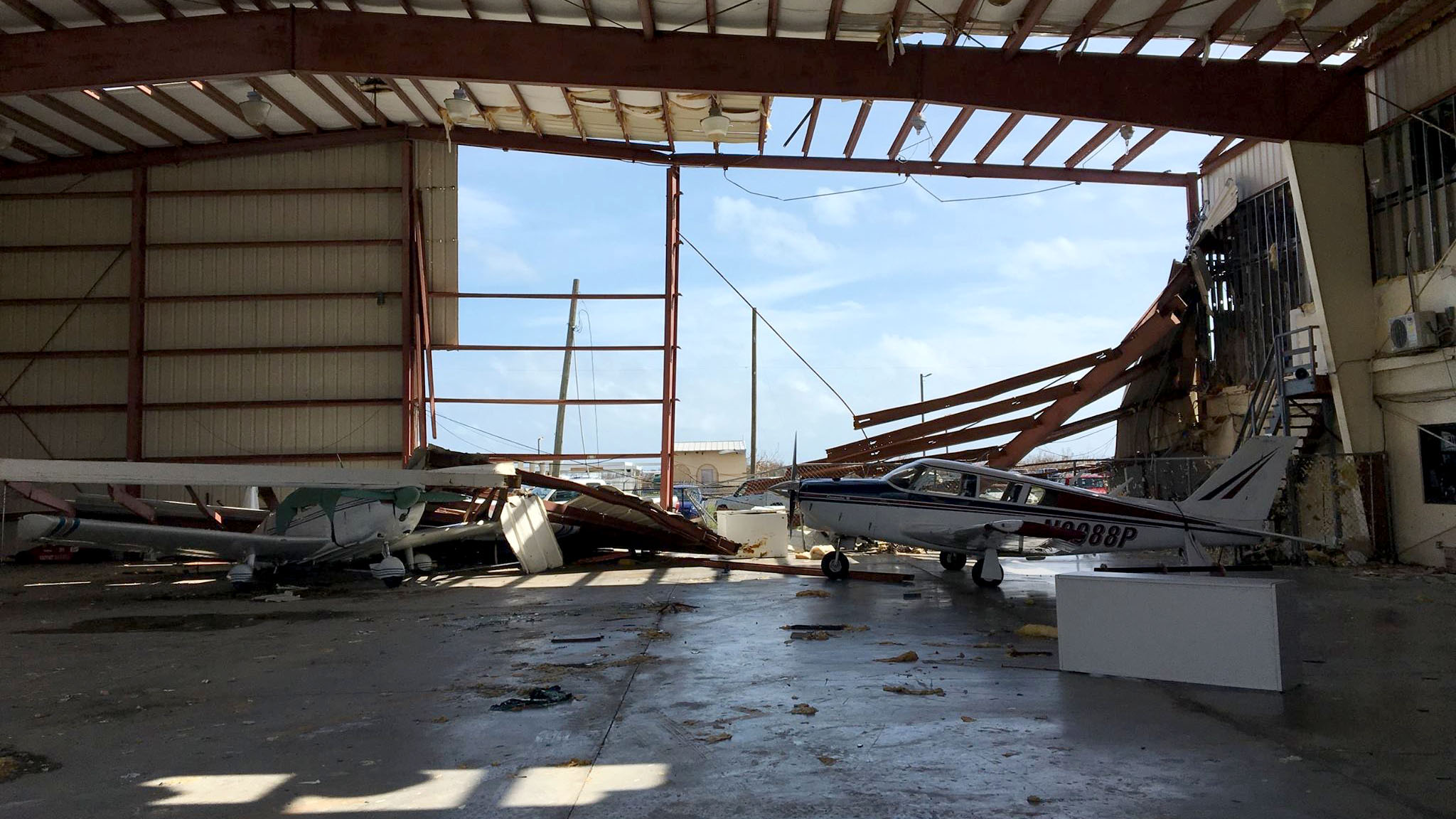 Damage to interior of the St. Croix facility. Photo courtesy of Bohlke International Airways.