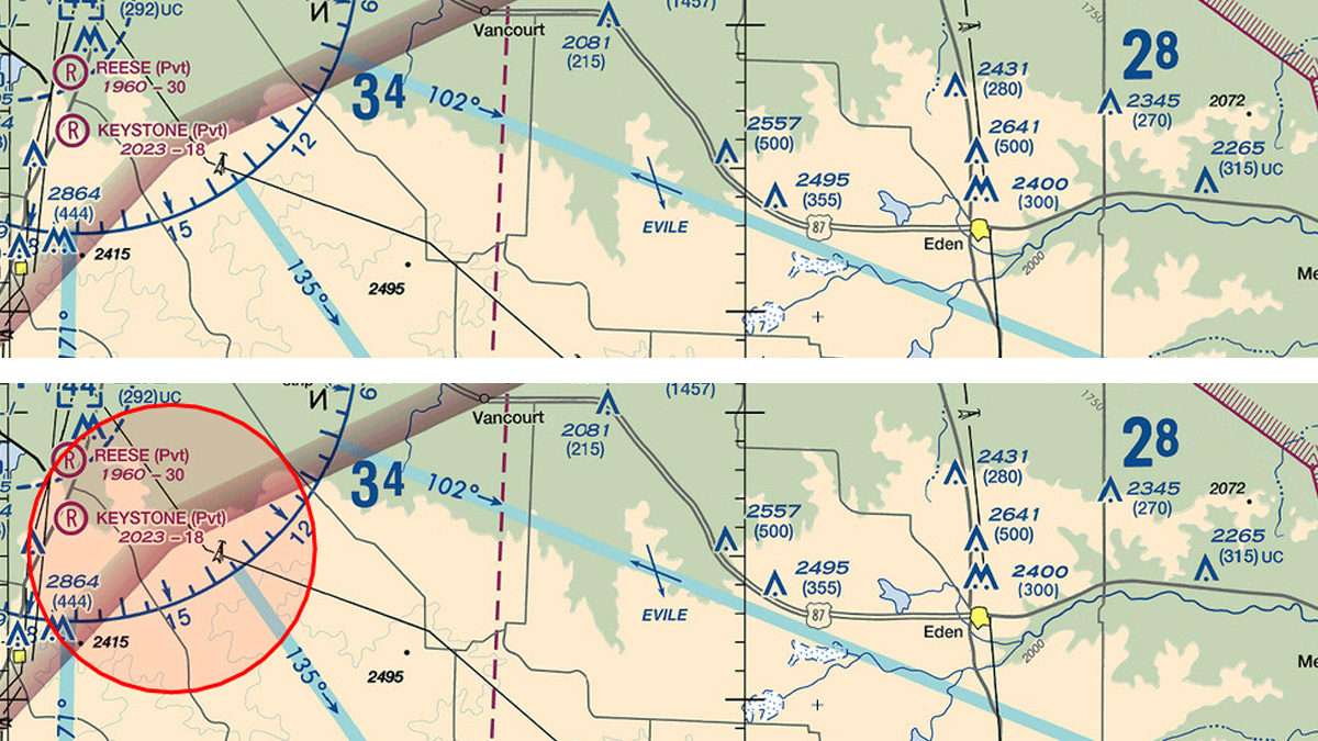 This comparison of SkyVector sectional chart excerpts shows how a Texas TFR was recently depicted online. Composite by AOPA staff.