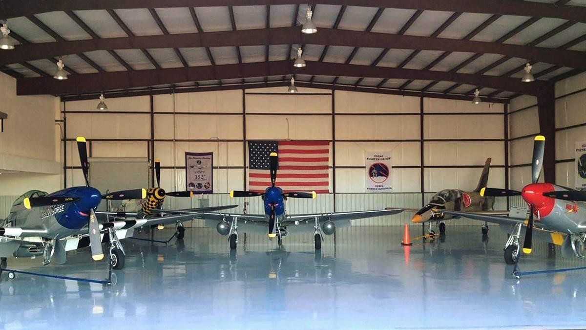 The Stallion 51 hangar full of North American P-51 Mustangs (and an L-39) will become an AOPA Rusty Pilots Seminar classroom on March 3. Photo courtesy of KT Budde-Jones.
