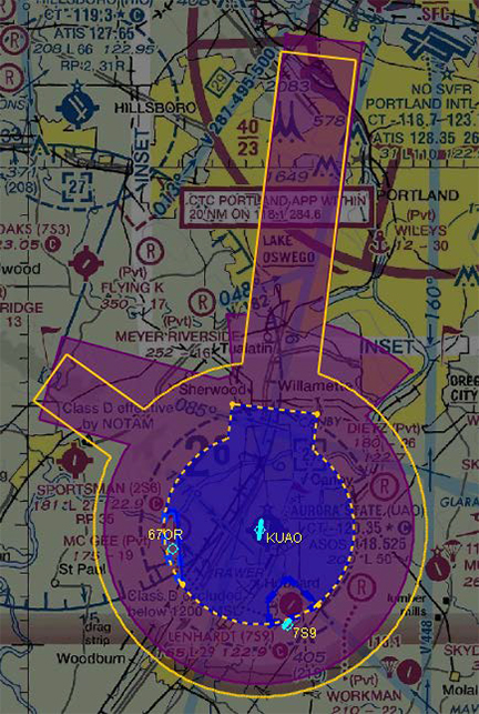 Proposed airspace diagram at Aurora State Airport (UAO). Class D is excluded below 1,500 feet MSL within the cutout areas near 67OR and 7S9.  Class E surface area shown in dashed yellow, except is excluded below 1,500 feet MSL near67OR. Class E surface area is not excluded from the cutout area near 7S9. Proposed Class E airspace extending upward from 700 feet shown in magenta with existing Class E shown in yellow outline for reference. Image courtesy of the FAA.