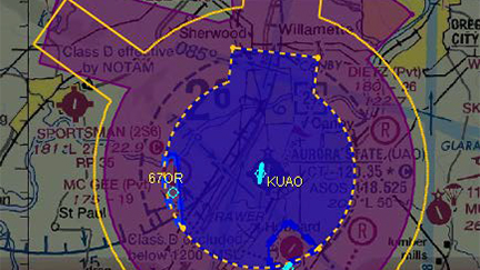 Proposed airspace diagram at Aurora State Airport (UAO). Class D is excluded below 1,500 feet MSL within the cutout areas near 67OR and 7S9.  Class E surface area shown in dashed yellow, except is excluded below 1,500 feet MSL near 67OR. Class E surface area is not excluded from the cutout area near 7S9. Proposed Class E airspace extending upward from 700 feet shown in magenta with existing Class E shown in yellow outline for reference. Image courtesy of the FAA.