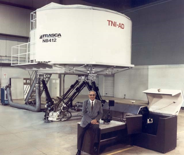 The towering two-story-tall Bell NB-412 full flight simulator utilized hydraulics, a cooling system, and advanced engineering. Photo courtesy of Frasca International.