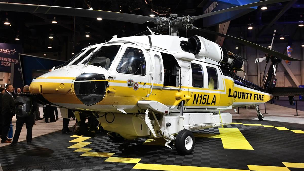 Sikorsky's exhibit at HAI Heli-Expo 2018 included this Los Angeles County Fire Department SH-70i Firehawk. This airframe saw extensive service fighting wildfires in Southern California last year. Photo by Mike Collins.