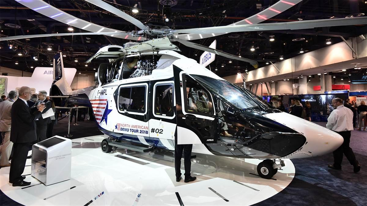 Airbus Helicopters' new North American training center will add a simulator for the new H160, shown here on display at HAI Heli-Expo 2018, as soon as the new model is certified. Photo by Mike Collins.