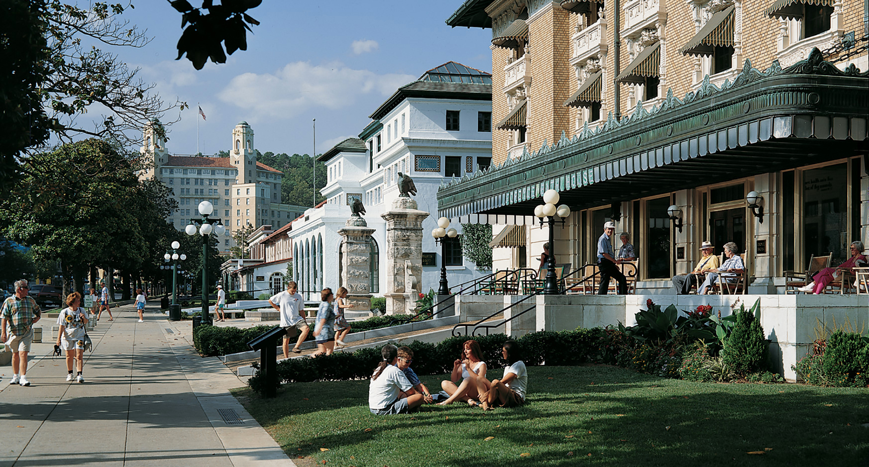At the center of Hot Springs, Arkansas, Bathhouse Row preserves eight historic bathhouse buildings and gardens along Central Avenue. The historic Fordyce Bathhouse, far right, serves as the park's visitor center. The magnificent twin-towered Art Deco-style Arlington Hotel, built in 1924, rises in the background. Photo courtesy Arlington Hotel.