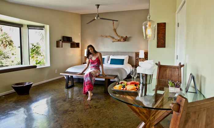 At the Spring Resort and Day Spa, the large and private Mountain View Suite features views of Mount San Jacinto, a king size bed, reserved parking, and a private entrance. Guests enjoy a secluded patio for private sunbathing or dining as well as a fully equipped café kitchen. Photo courtesy Spring Resort & Day Spa.