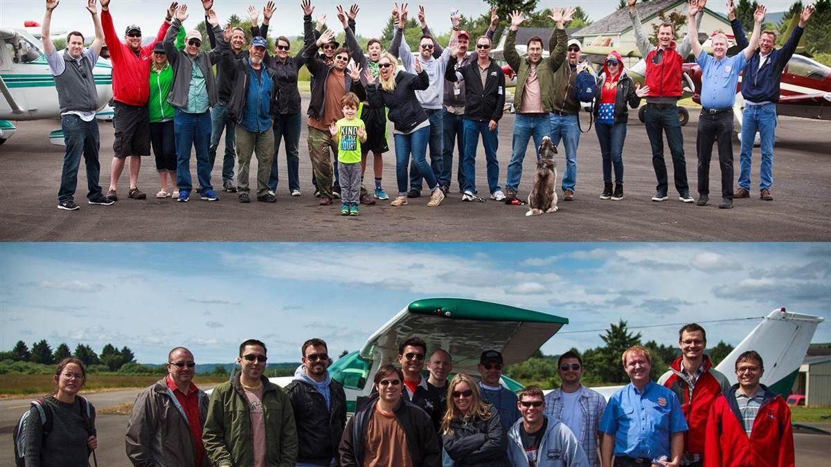 Flights Above the Pacific Northwest members posed for a photo in 2012, bottom, to commemorate the Facebook group's founding. They, and others, returned to the same airport (wearing much the same attire) in June 2017 for the photo at top, celebrating five years of socializing around aviation. Photos by John Marzulli courtesy of Flights Above the Pacific Northwest.