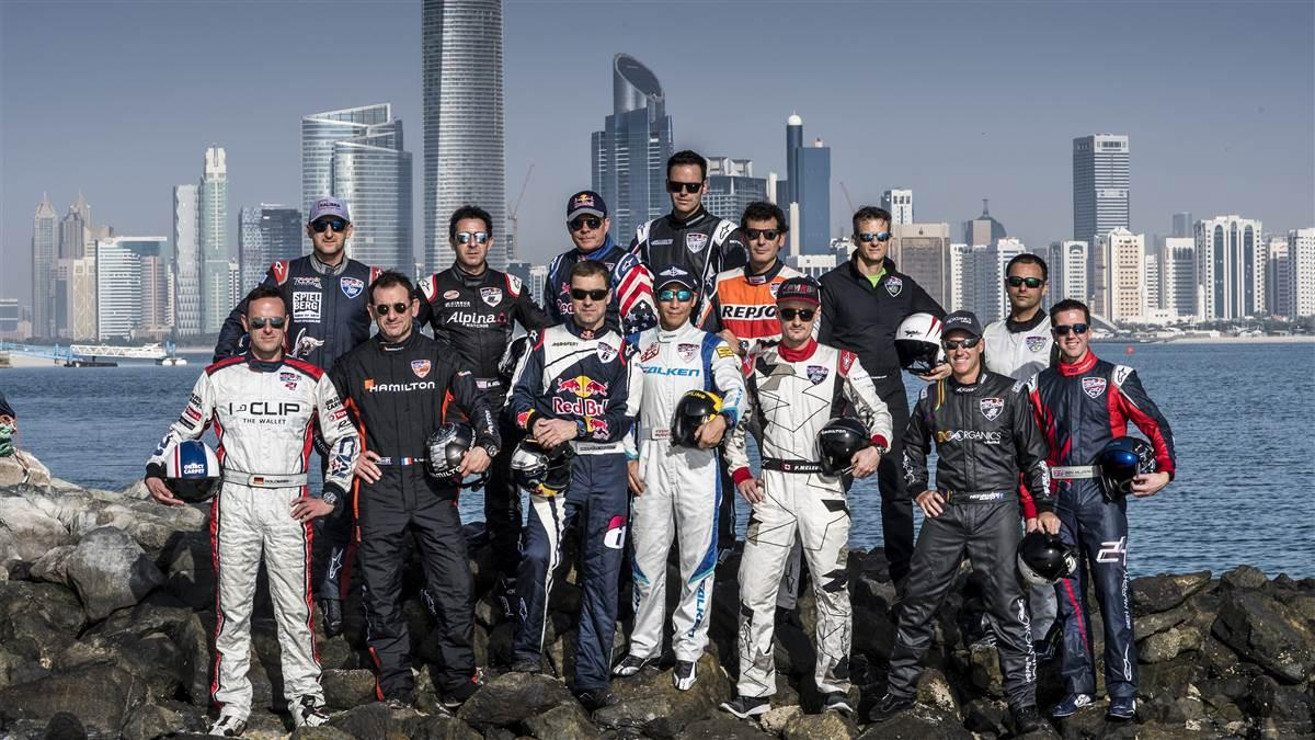 The Red Bull Air Race pilots pose for a photograph prior the first stage of the Red Bull Air Race World Championship in Abu Dhabi, United Arab Emirates on January 27, 2018. // Predrag Vuckovic/Red Bull Content Pool