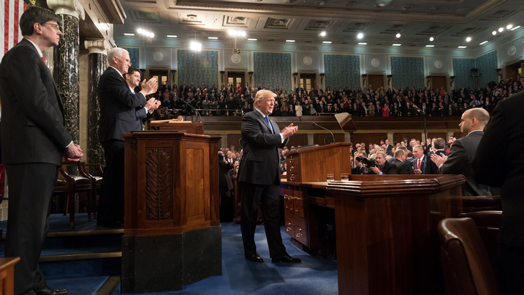 President Trump during his 2018 State of the Union Address. Official White House photo by Shealah Craighead.