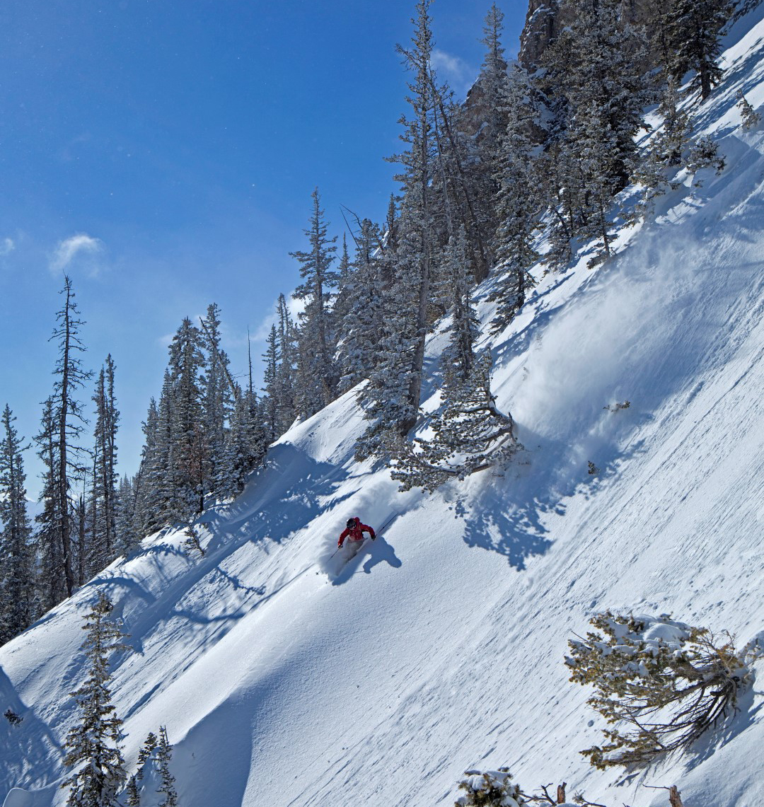 "The non-profit, condo-free Bridger Bowl continues to attract self-described ""ski freaks,"" largely due to the influence of a few locals. In 1977, Tom Jungst moved to Bozeman to join the Montana State University ski racing team. Jungst, Scot Schmidt, and Doug Coombs pioneered extreme terrain in the area and appeared in classic ski films by Warren Miller and Greg Stump. Honing their techniques at Bridger, they helped spark the steep skiing gospel that has since spread worldwide. Pat Clayton photo courtesy Bridger Bowl."