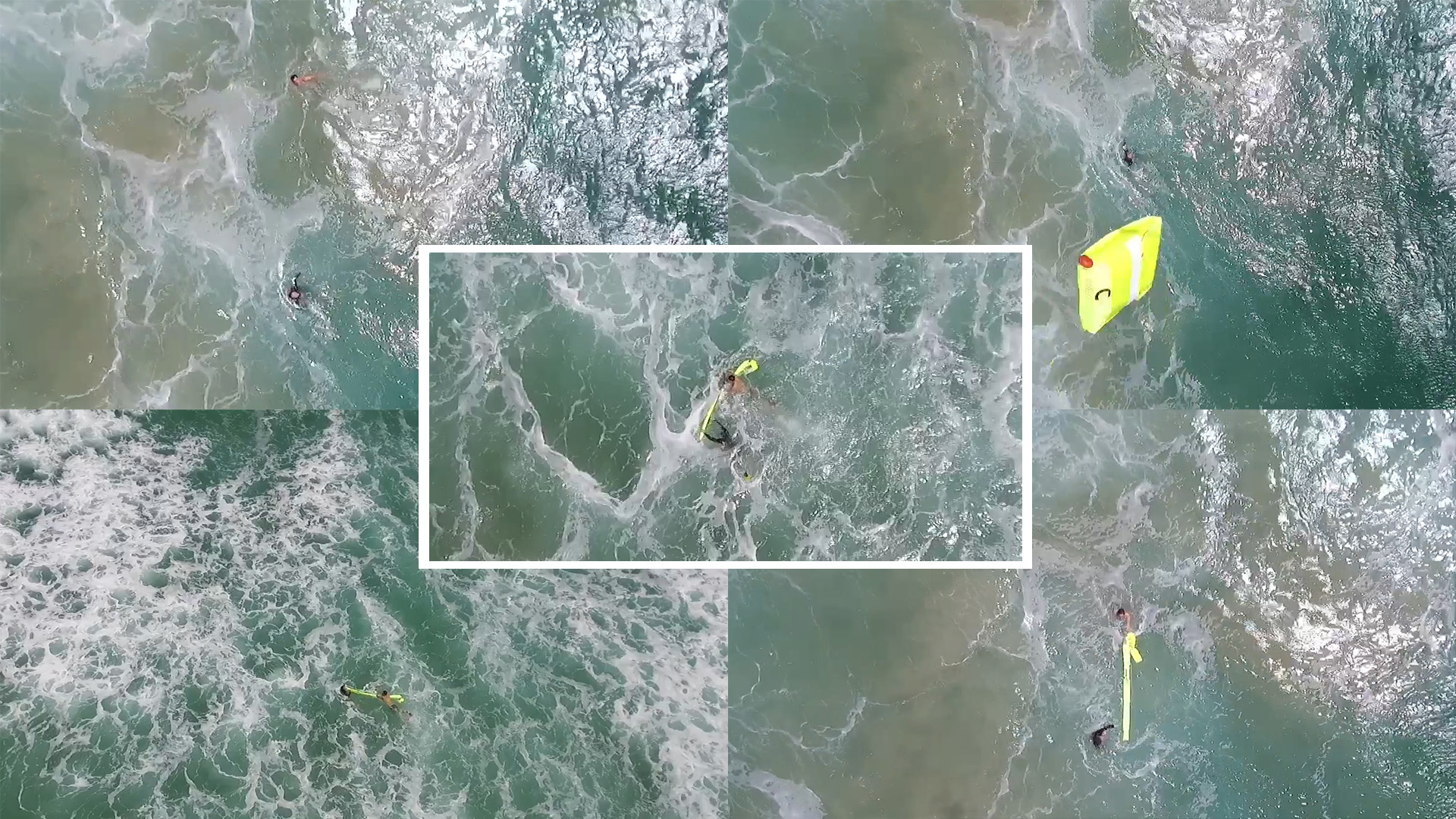 This sequence of images from a video taken Jan. 18 by the Westpac Little Ripper documents the rescue of two teens who were caught in dangerous surf far from shore, and assisted by a floatation device dropped from the drone. Photos from video courtesy of Westpac Little Ripper.