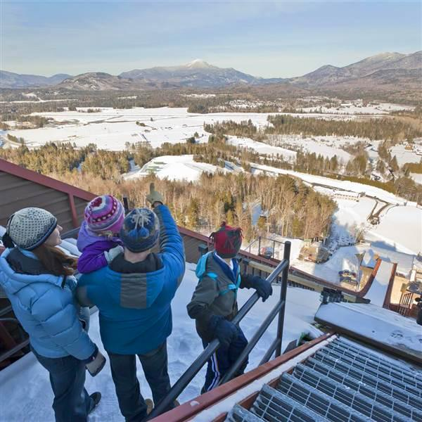 At the Lake Placid Olympic Jumping Complex, you'll stand right above the K-120 meter ramp that ski jumpers launch from before flying into space. Take in panoramic views of the Adirondacks and visit the ski jumper's preparation room. Nearby, aerialists spring off steep kickers on the Lake Placid Freestyle hill in a flurry of twists, turns and tumbles. Photo by Dave Schmidt courtesy ORDA.