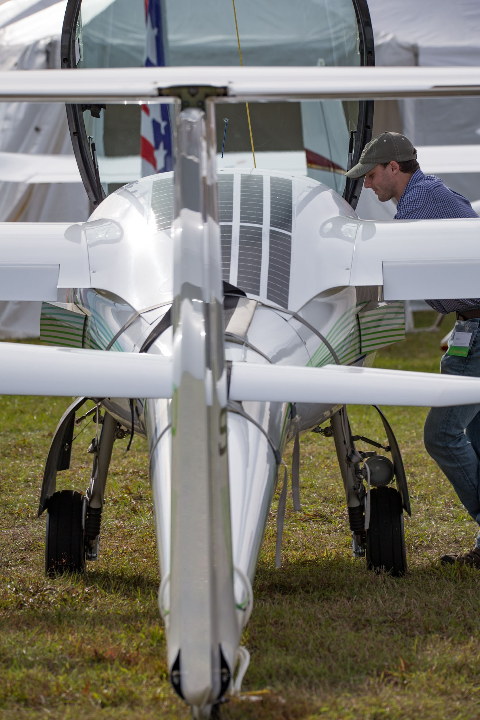 This airplane sports rows of solar cells behind its canopy. Photo courtesy U.S. Sport Aviation Expo.