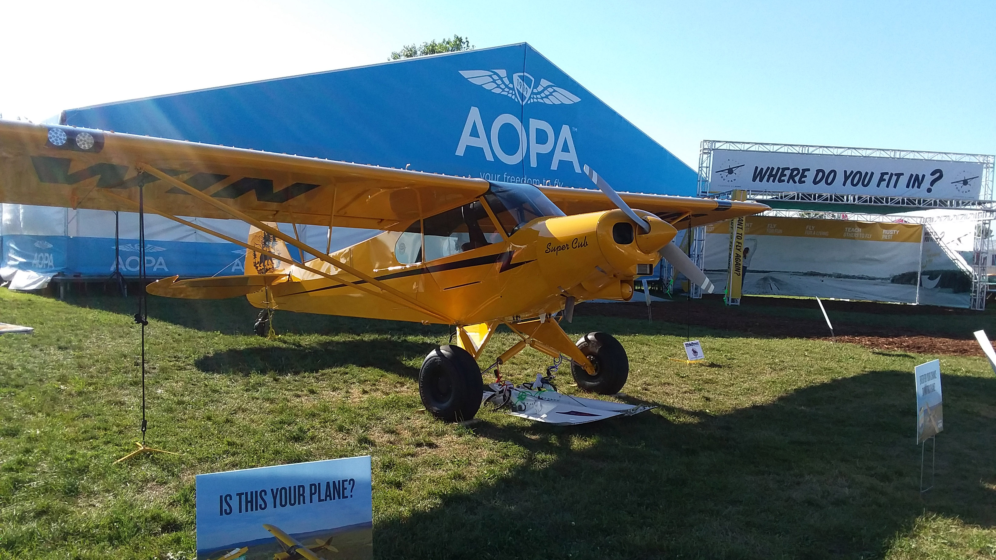 The AOPA Sweepstakes Super Cub is open for inspection at EAA AirVenture in Oshkosh, Wisconsin, and members love every inch of it. Photo by Alyssa Cobb.