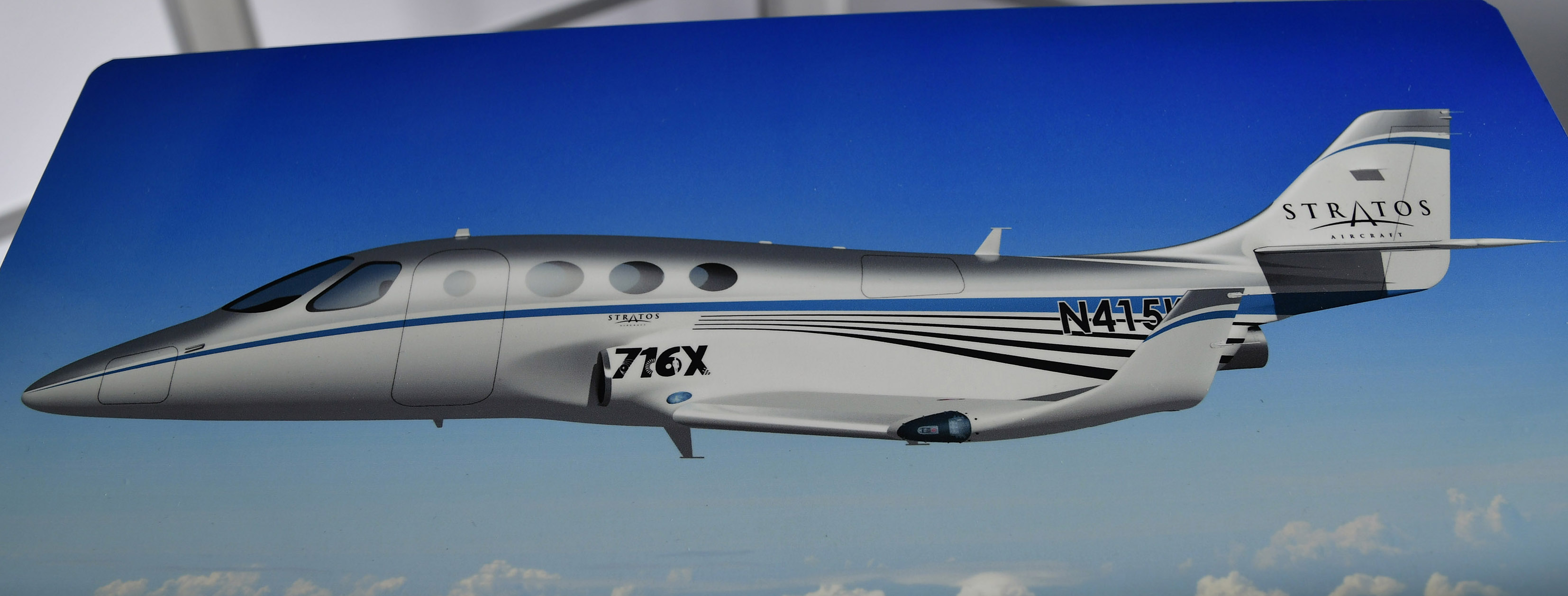 A drawing of a Stratos 716X shows the twin jet's stretched cabin during EAA AirVenture at Wittman Regional Airport in Oshkosh, Wisconsin, July 23, 2018. Photo by David Tulis.