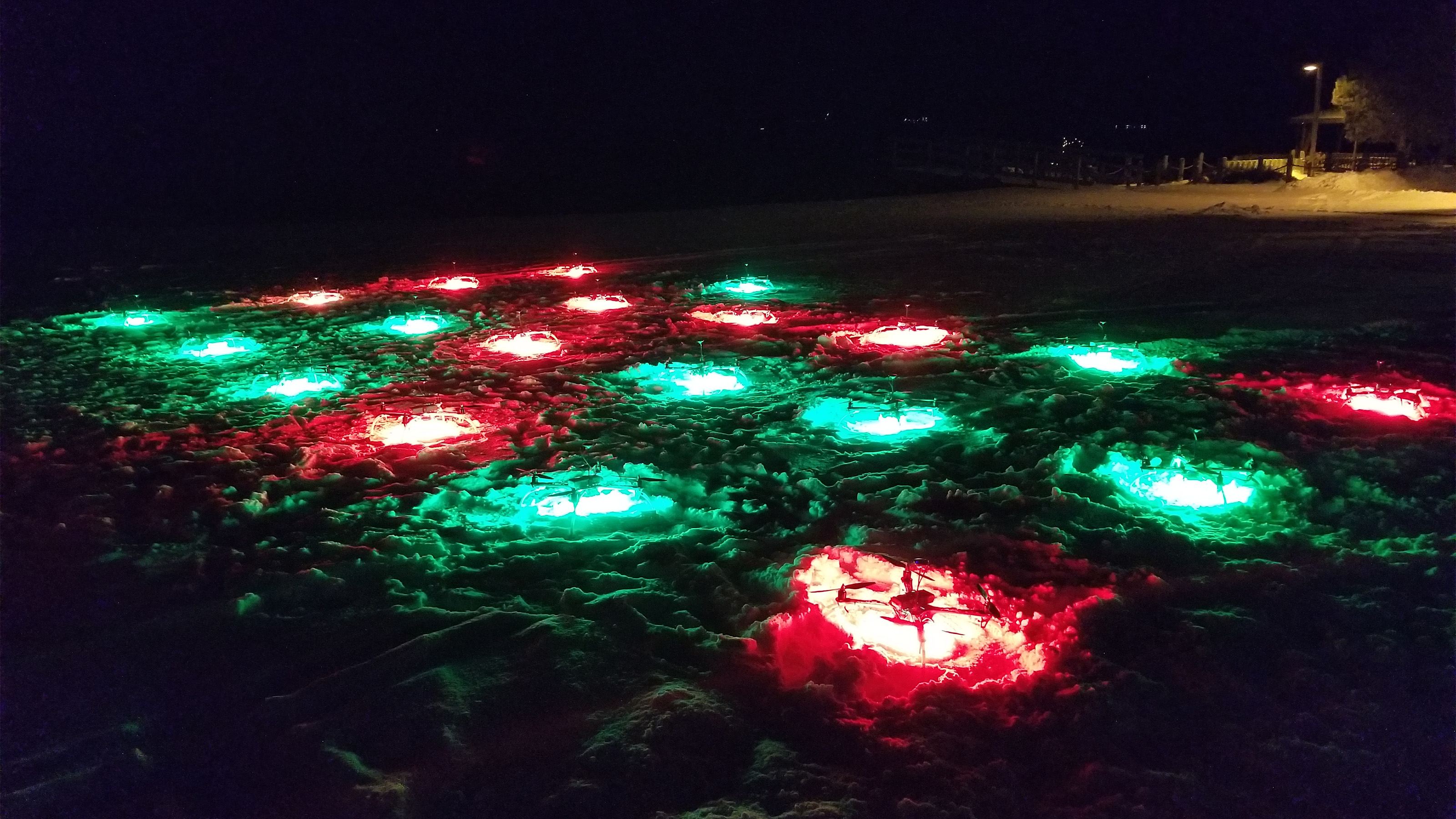 These custom drones have bright LEDs that can create virtually any color in the RGB spectrum. Photo courtesy of the Great Lakes Drone Company.