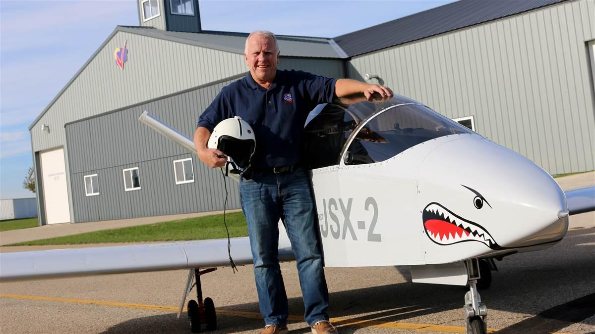 John Monnett, pictured here with a SubSonex JSX-2 after completing its first flight in October 2015, retired from the company June 2. Photo courtesy of Sonex Aircraft.