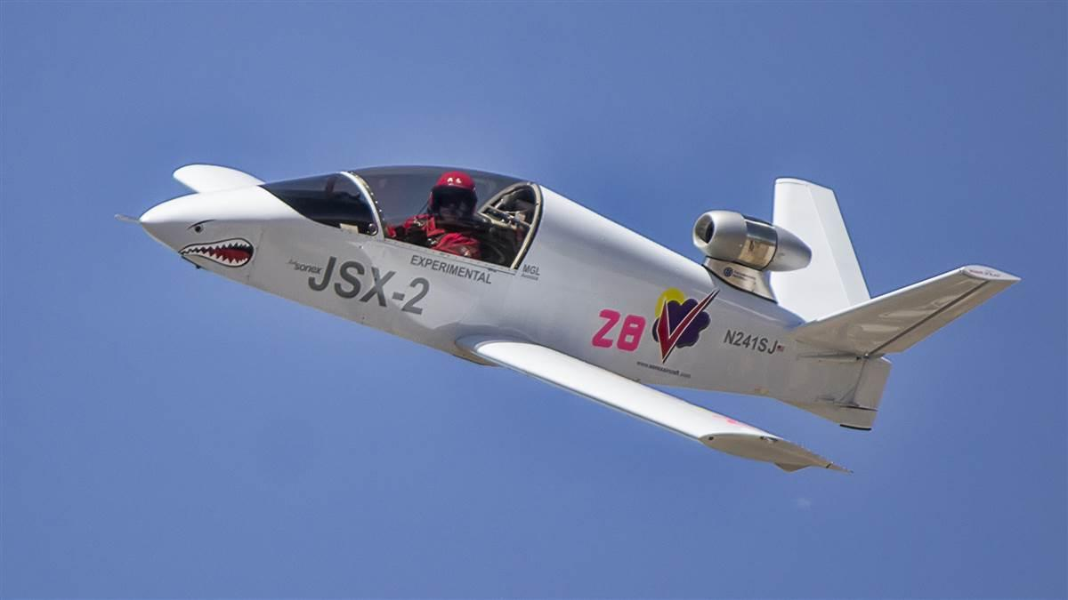 "The SubSonex JSX-2 ""Sharkie"" on the Reno race course piloted by three-time Reno Gold champion Pete Zaccagnino. Photo by Curtis Noble, courtesy of Sonex Aircraft."