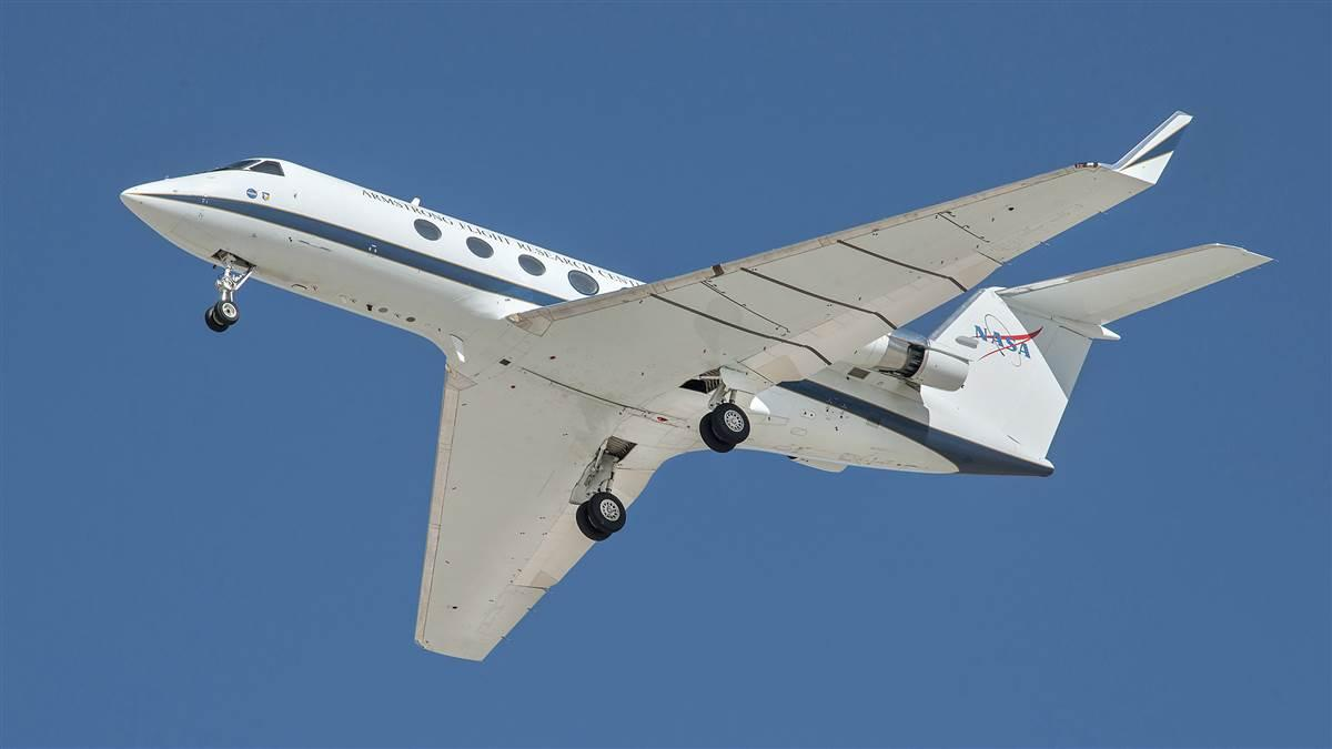 A NASA Gulfstream G-III tested noise-reducing flaps and landing gear modifications at NASA's Armstrong Flight Research Center in California. NASA photo by Ken Ulbrich.
