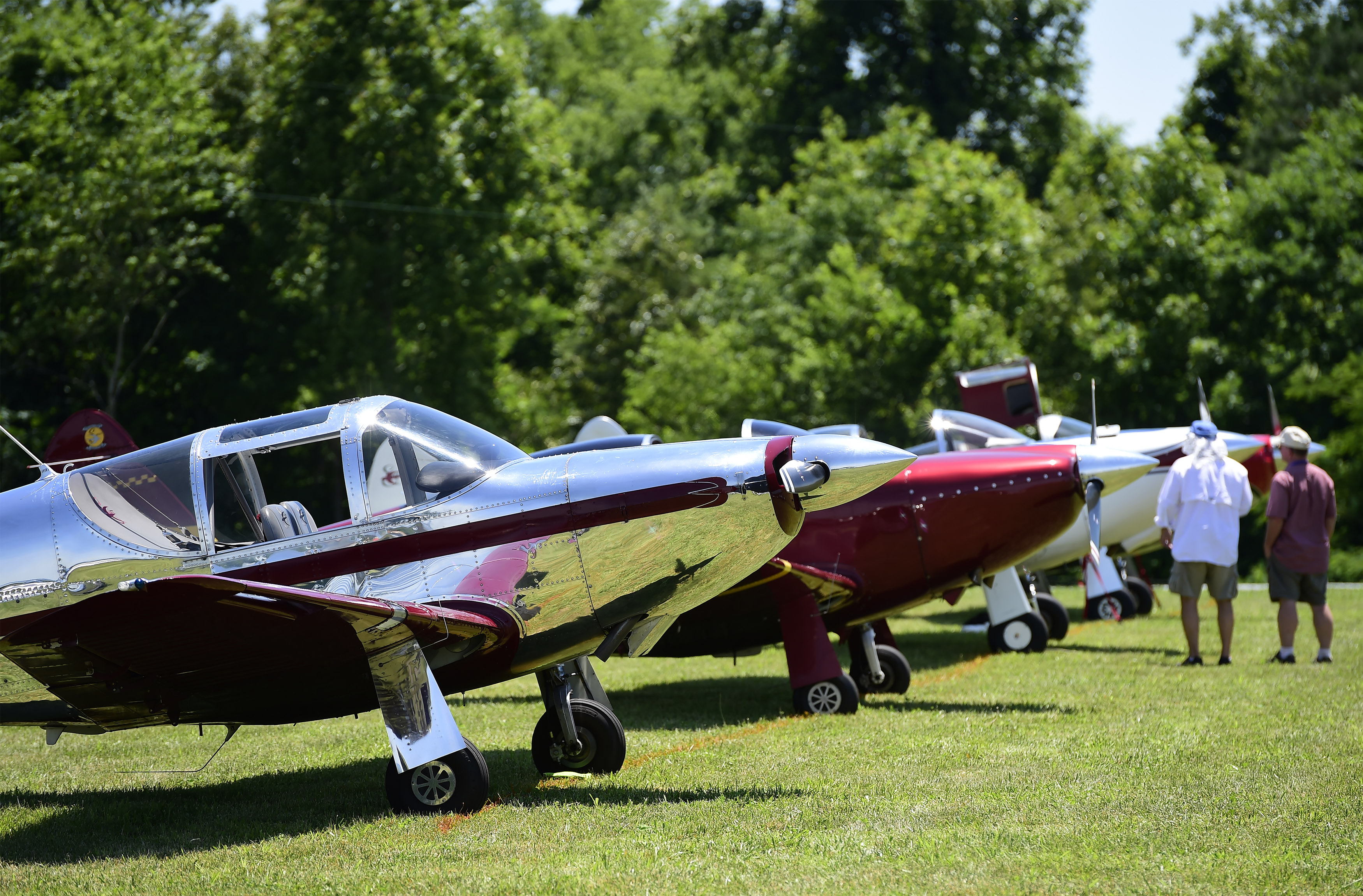 Nearly four dozen original or modified Temco and Globe Swift aircraft were on the flight line during the 2018 Swift National fly-in to help celebrate the fiftieth anniversary of the Swift Museum Foundation, in Athens, Tennessee, June 7-10, 2018. Photo by David Tulis.