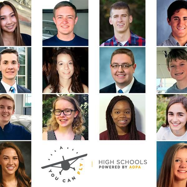 2018 You Can Fly High School Flight Training Scholarship Program winners.