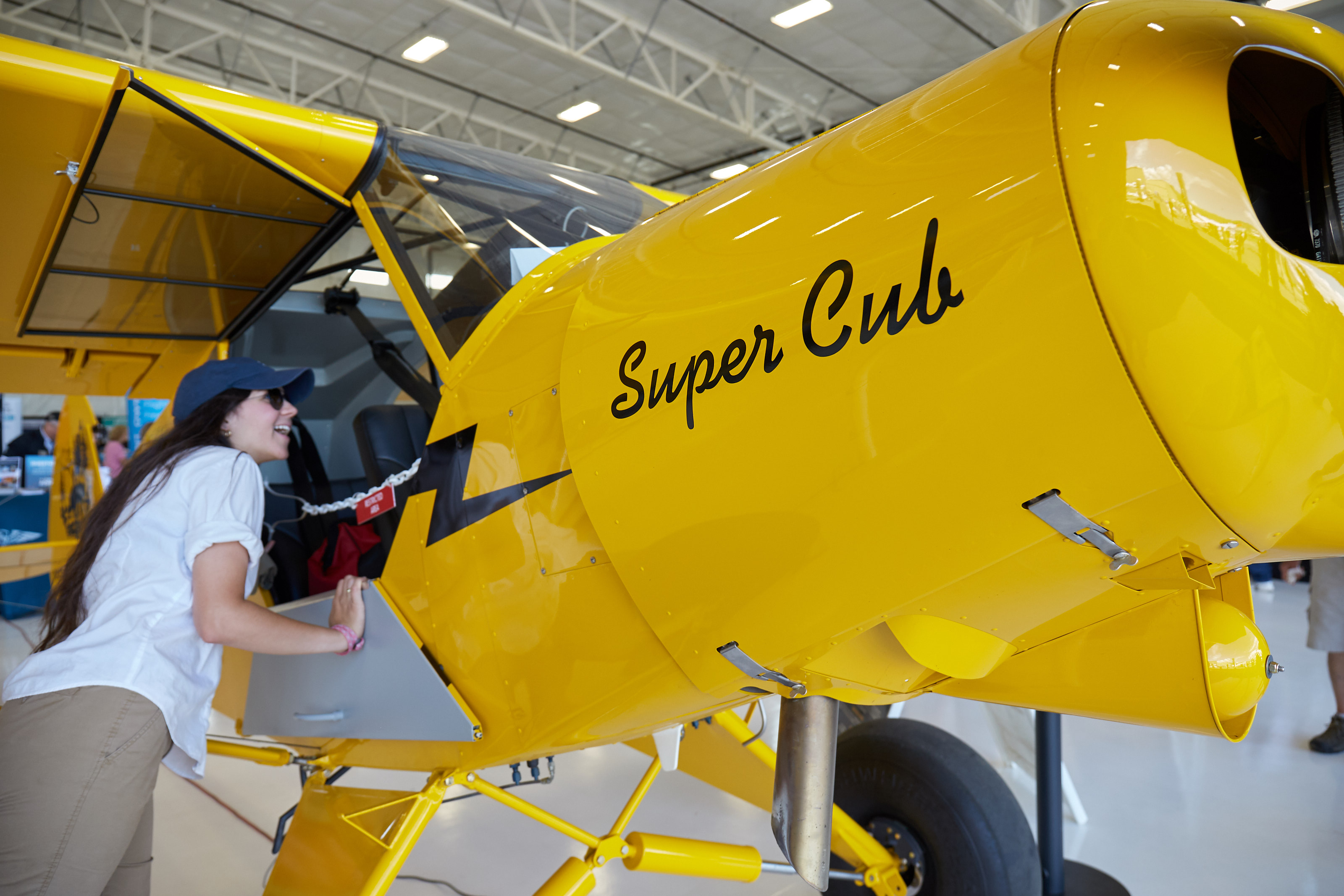 The Sweepstakes Super Cub draws attention during the AOPA Fly-In at Missoula, Montana. Photo by Mike Fizer.