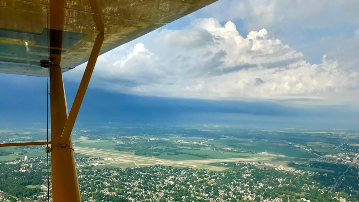Thunderstorms dot the Midwest along our route, causing us to deviate to give them wide berth. Photo by Janet Davidson.