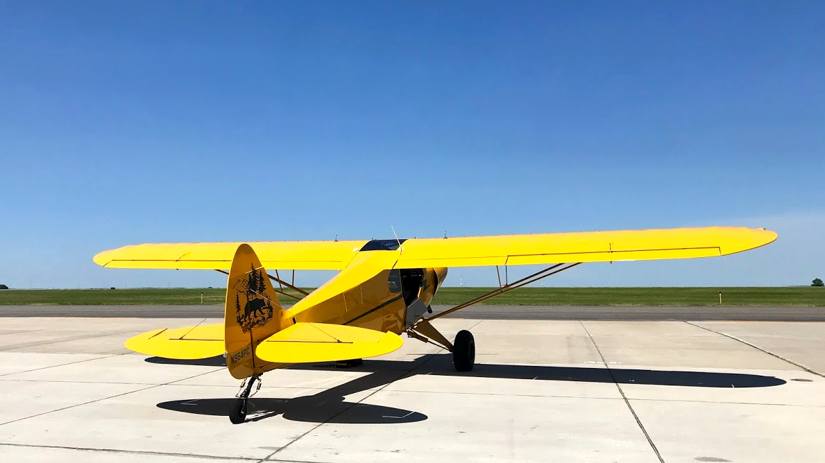 The Super Cub has the ramp to itself at Mustang Aviation in Pierre, South Dakota. Photo by Janet Davidson.