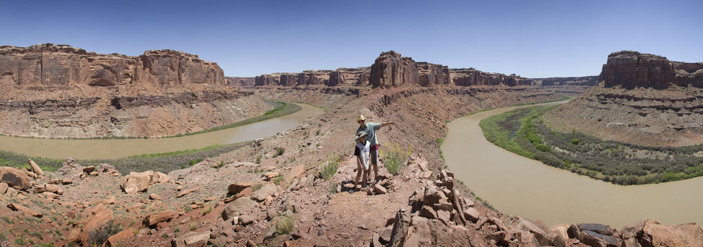 At Bowknot Bend, the Green River completely reverses direction. This point is about 6 river miles upstream of Mineral Canyon. Photo by August Allen.