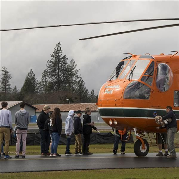 Several hundred middle and high school students attended a presentation that highlighted science, technology, engineering, and math aviation career options during an educational event at Grants Pass Airport, in Grants Pass, Oregon, March 15. Photo by David Tulis.